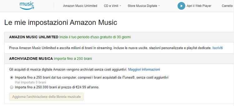 impostazioni amazon music archiviazione musica