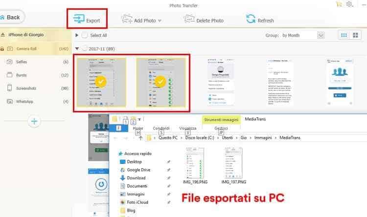 mediatrans photo transfer esportazione foto iphone