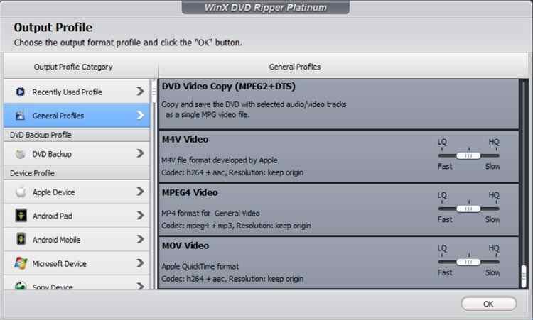profili conversione winx dvd ripper Platinum