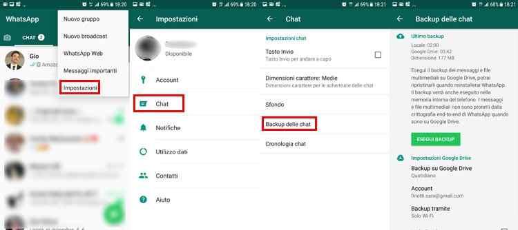 trasferire dati android messaggi whatsapp