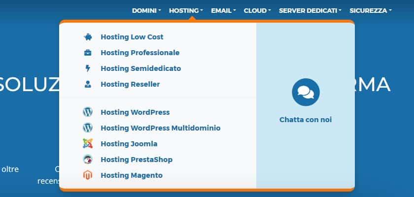 vhosting solution menu