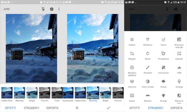 SnapSeed app modifica foto android