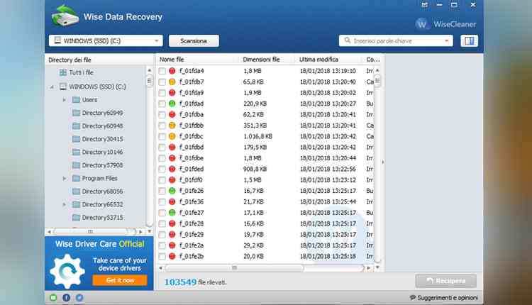 Wise Data Recovery recuperare dati hard disk