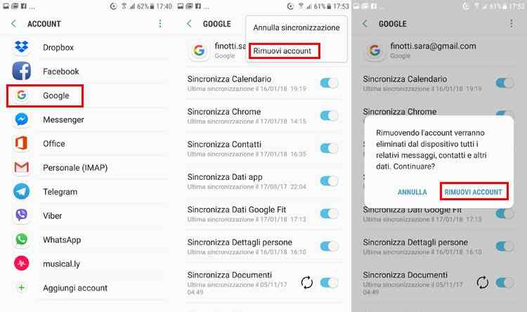 eliminare account email google android