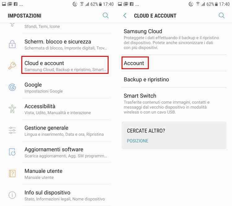 eliminare aaccount mail android