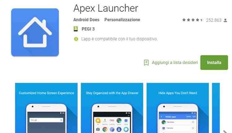 migliori launcher android apex launcher