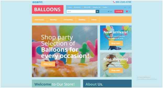 Balloons Template OpenCart gratuito