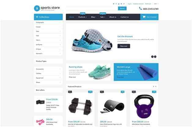 template Shopify Sports Store