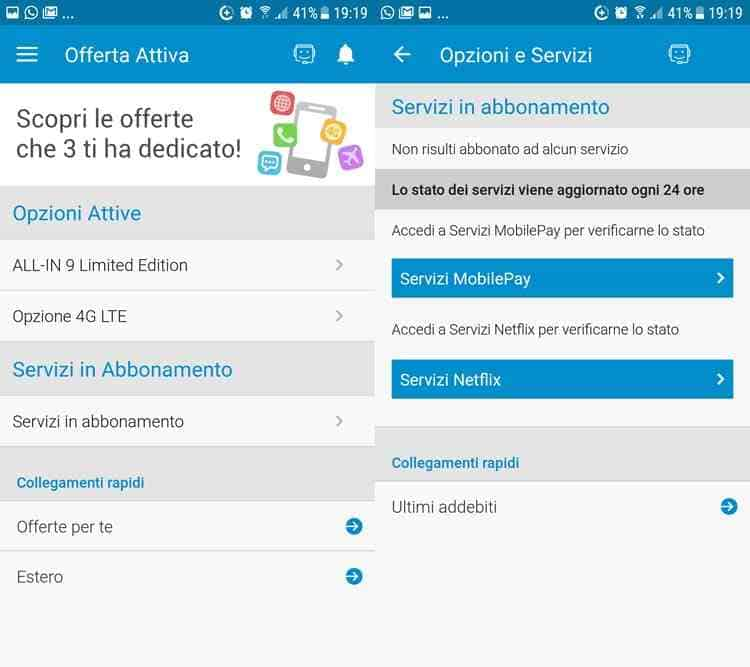 disattivare servizi tre a pagamento app