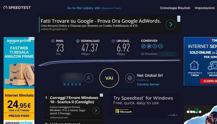 verificare velocità adsl fibra con speedtest net