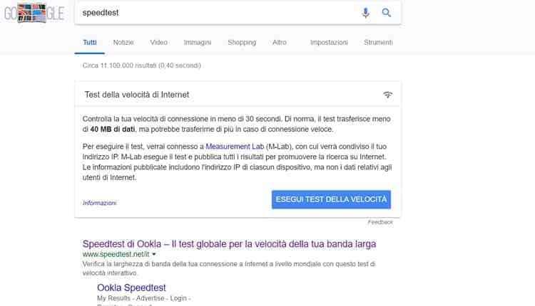 verificare velocita adsl fibra con google