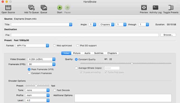 HandBrake convertire video