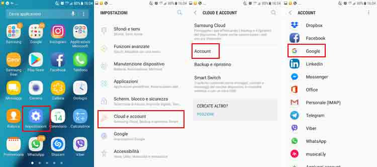 contatti google iphone impostazioni android