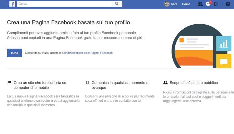 convertire profilo facebook in pagina