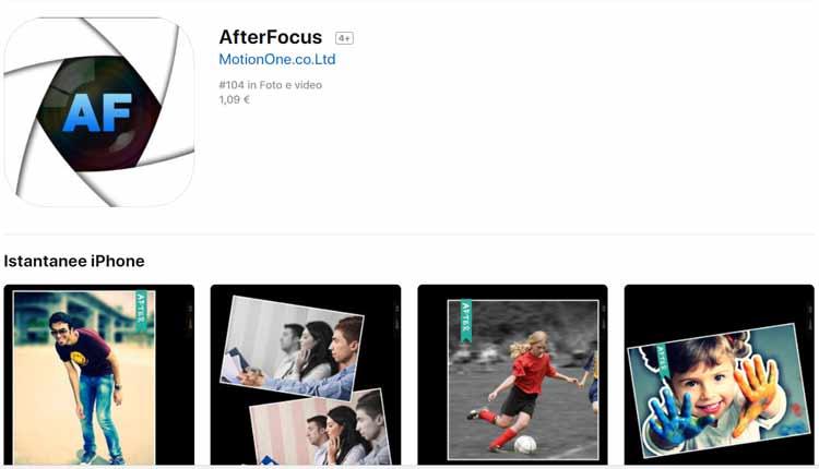migliori app per effetti foto iphone afterfocus