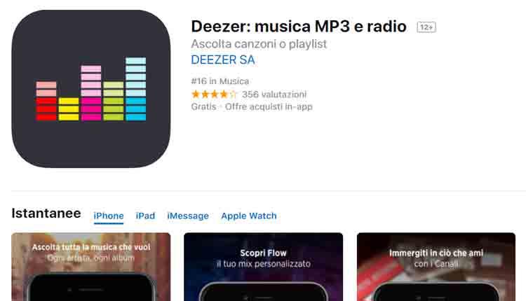 migliori app ricerca canzoni iphone deezer