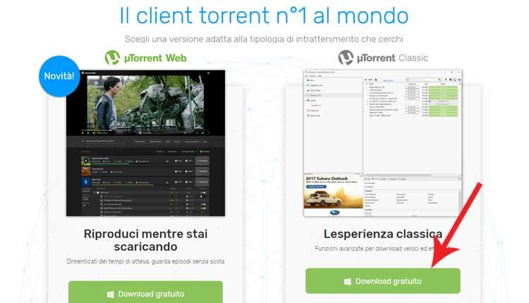 Scaricare con uTorrent Classic