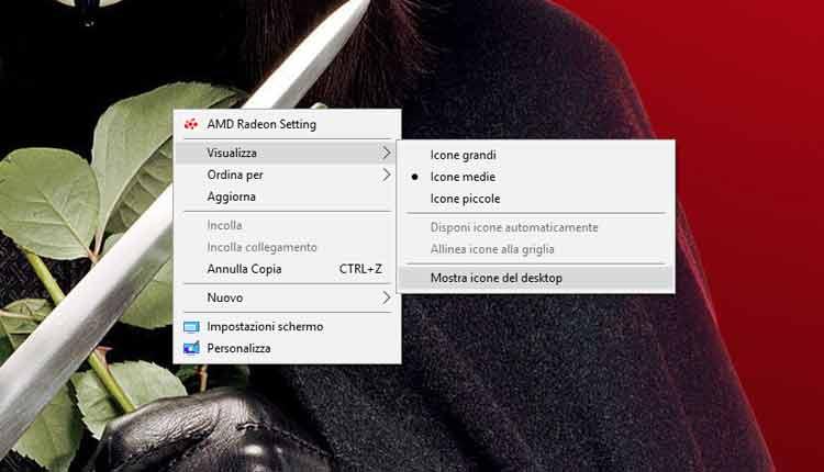 mostra icone desktop windows 10