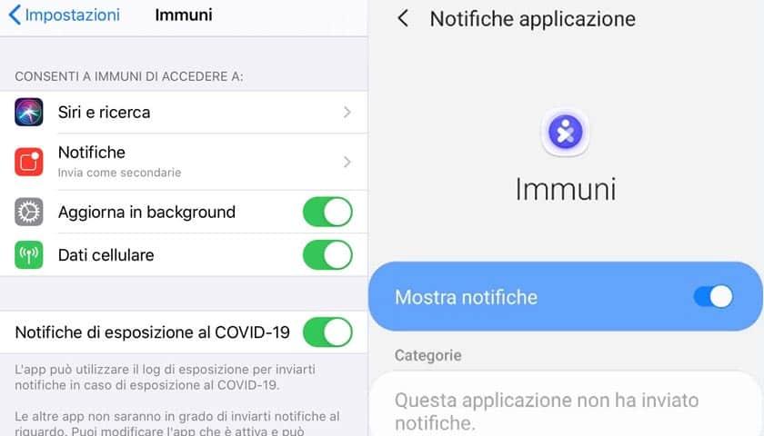 app immuni disabilitare abilitare notifiche