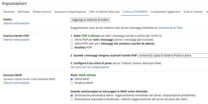 gmail inoltro e pop imap