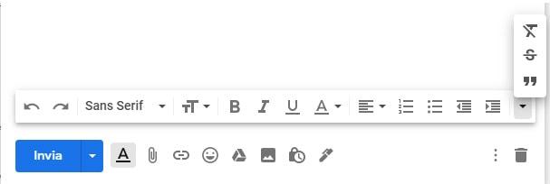 strumenti formattazione messaggio gmail