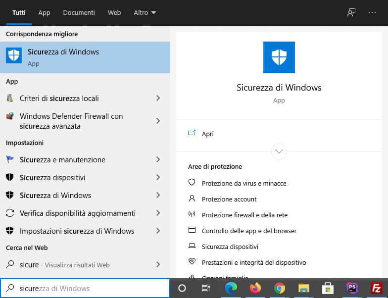 sicurezza windows 10 windows defender