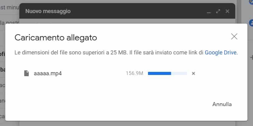 gmail caricamento allegato dimensioni superiori