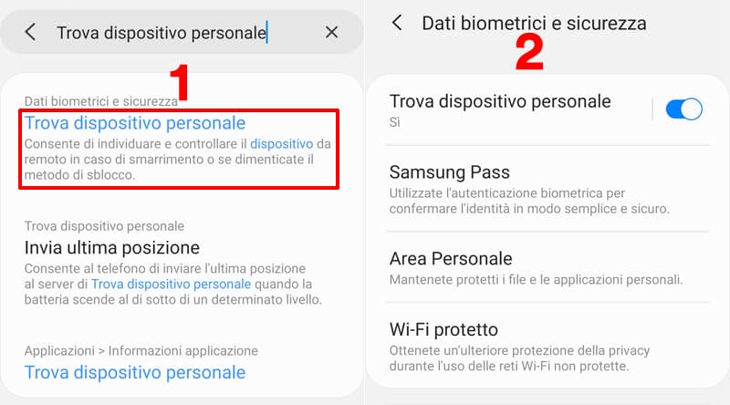 trova dispositivo personale android