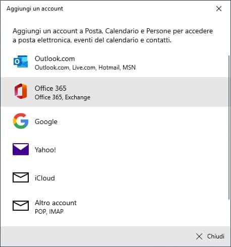 Windows Posta Aggiungi Account