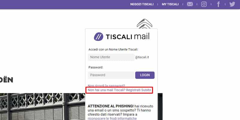 creare mail tiscali