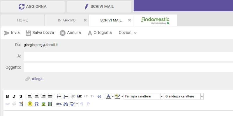 scrivi nuovo messaggio mail tiscali