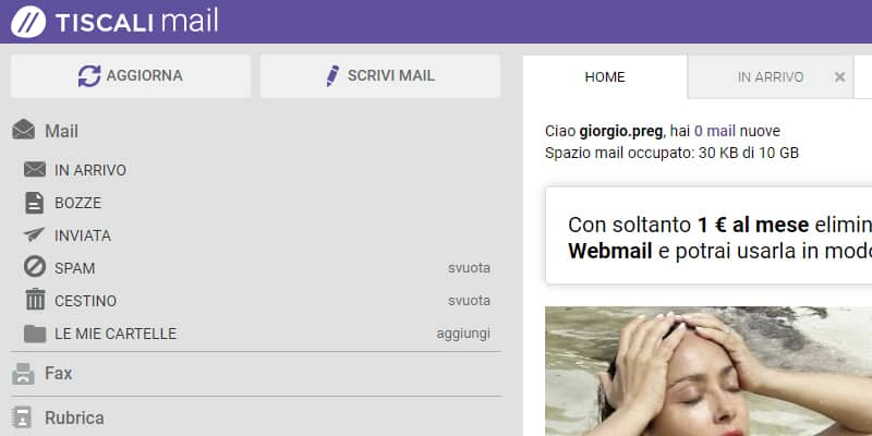 webmail tiscali menu