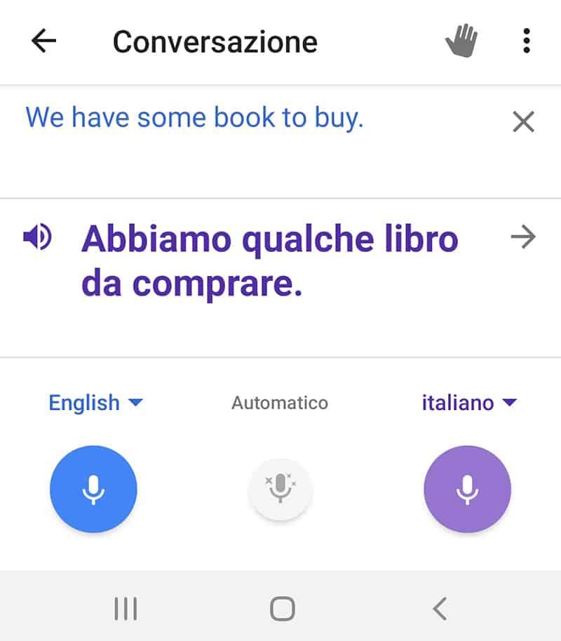 Google Traduttore - tradurre conversazione