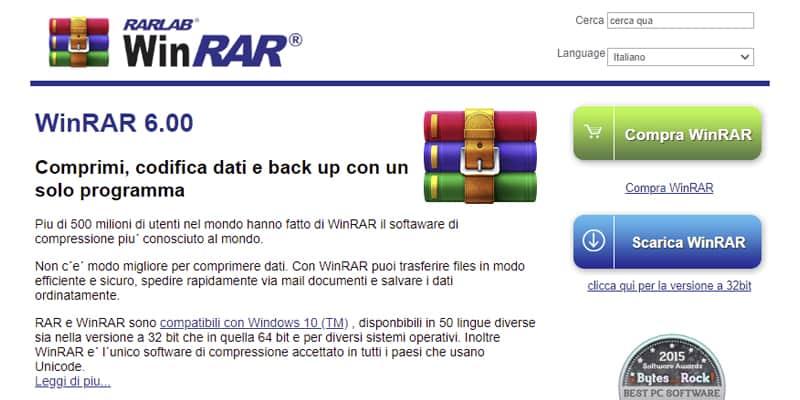 WinRAR sito ufficiale