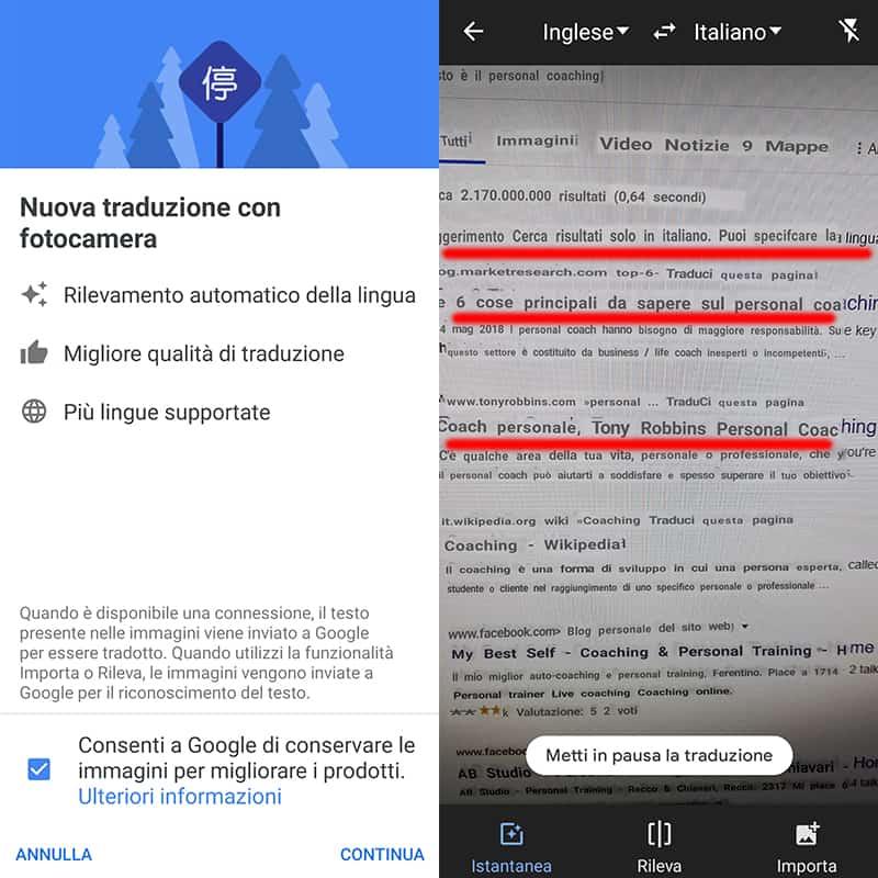 google traduttore traduzione con fotocamera