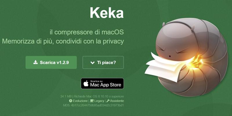 keka comprimere file mac